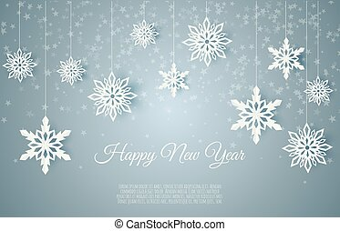 Christmas card with paper snow flake. Falling snowflakes on a dark blue winter background.