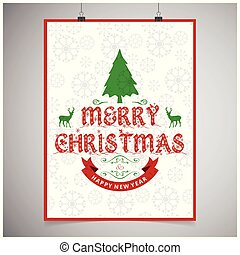 Christmas card with pattern background