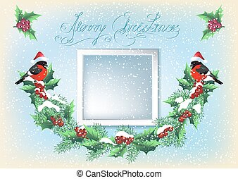 Christmas card with photo frame, garland and two bullfinches in retro style