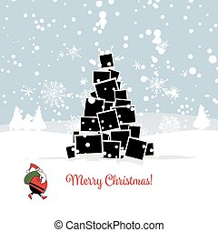 Christmas card with photo tree for your design