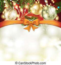 Christmas card with pine tree, bow and ball