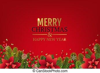 Christmas Card With Poinsettia Border