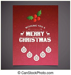 Christmas card with red background snow flakes