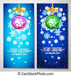 Christmas card with red ball in white snowflakes background, vector illustration.