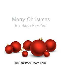 Christmas card with red balls.