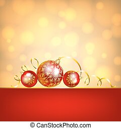 red baubles on golden background