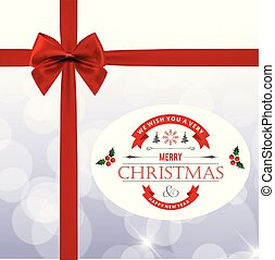 Christmas card with red bow and gift box