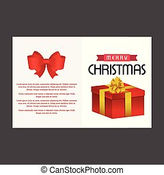 Christmas card with red bow and giftbox