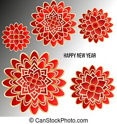 Christmas card with red flowers on light background.