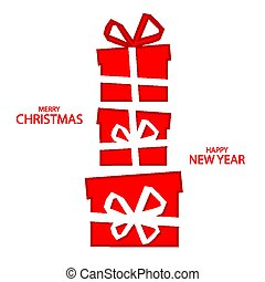 christmas card with red gift boxes
