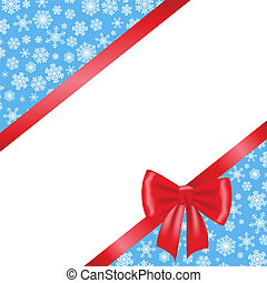 Christmas card with red ribbon bow