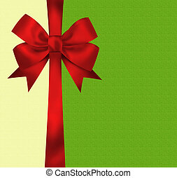 Christmas card with red ribbon bow. Illustration
