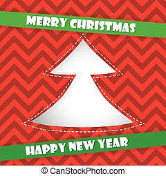 Christmas card with red tree