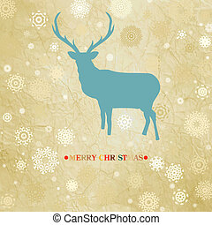 christmas card with reindeer and snowflakes. EPS 8