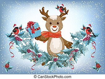 Christmas card with reindeer deer holding gift box and spruce garland with bullfinch bird in Santa hat on the snowfall background