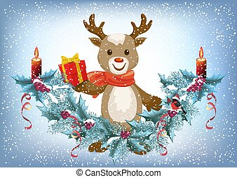 Christmas card with reindeer deer holding gift box and spruce garland with burning candle and bullfinch bird in Santa hat on the snowfall background