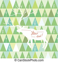Christmas card with reindeer frame and trees pattern