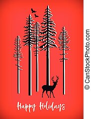 Christmas card with reindeer, vector