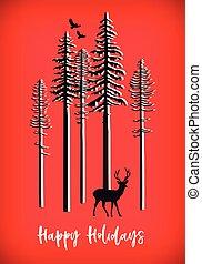 Christmas card with reindeer, vector