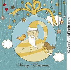 Christmas Card with Santa and Birds