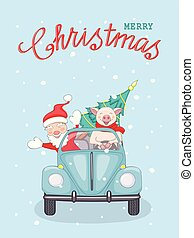 Christmas card with santa and piggy in retro car