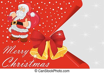 Christmas card with Santa Claus and bells