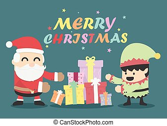Christmas card with Santa Claus and Elves