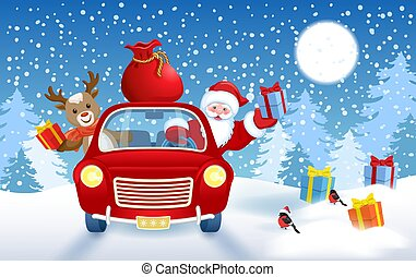 Christmas card with Santa Claus and fawn deer in red vintage car with gift box against winter forest background