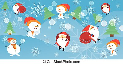Christmas card with Santa Claus and snowman. Santa and a snowman come with gifts.