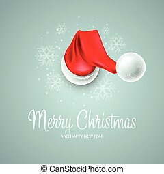 Christmas card with Santa Claus hat