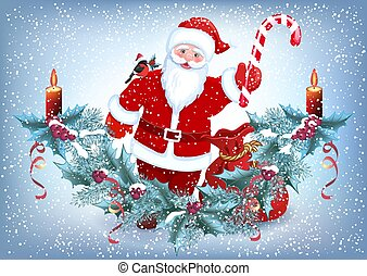 Christmas card with Santa Claus holding striped candy cane, and spruce garland with burning candle and bullfinch bird on shoulder in Santa hat on the snowfall background