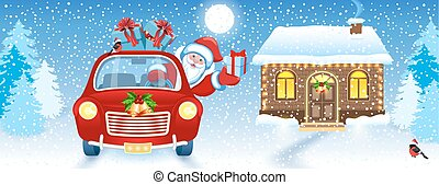 Christmas card with Santa Claus in car and house and Santa's workshop against winter forest background background