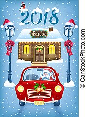 Christmas card with Santa Claus in red car against brick workshop house background and vintage lampposts