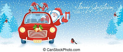 Christmas card with Santa Claus in red car with gift box against winter forest background