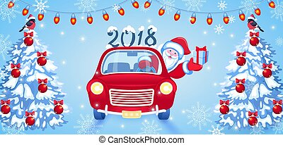 Christmas card with Santa Claus in red car with gift box and fir tree