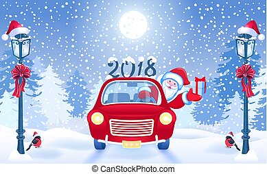 Christmas card with Santa Claus in red car with gift box and...