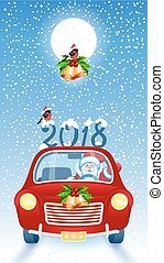 Christmas card with Santa Claus in red car with  inscription 2018 against snowfall background  and moon.