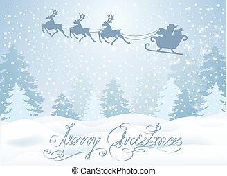 Christmas card with Santa Claus in sleigh with reindeer team...