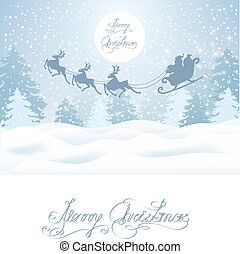 Christmas card with Santa Claus in sleigh with reindeer team flying in the sky against winter forest background