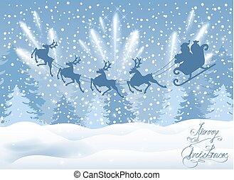 Christmas card with Santa Claus in sleigh with reindeer team flying in the sky with fireworks and salute against winter forest background. New Year postcard design.