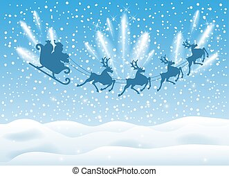 Christmas card with Santa Claus in sleigh with reindeer team flying in the sky with fireworks and salute. New Year postcard design.