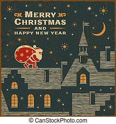 Christmas card with Santa Claus on the roof