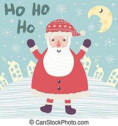 Christmas card with Santa Claus saying Ho ho ho