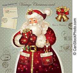 Christmas card with Santa Claus - Vintage holiday Christmas...