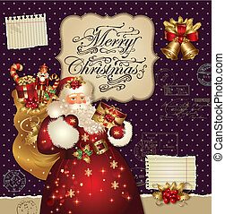 Christmas card with Santa Claus