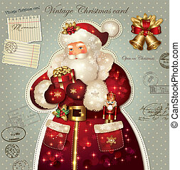 Christmas card with Santa Claus - Vintage holiday Christmas...