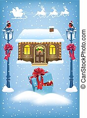 Christmas card with Santa Claus workshop house and vintage streetlamp with red bow and Santa in sleigh with reindeer team flying in the sky