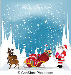christmas card with Santa Claus,reindeers and snowflakes in the blue sky, vector illustration
