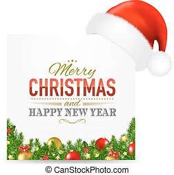 Christmas Card With Santa Hat And Text