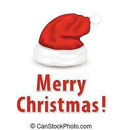 Christmas card with Santa hat.